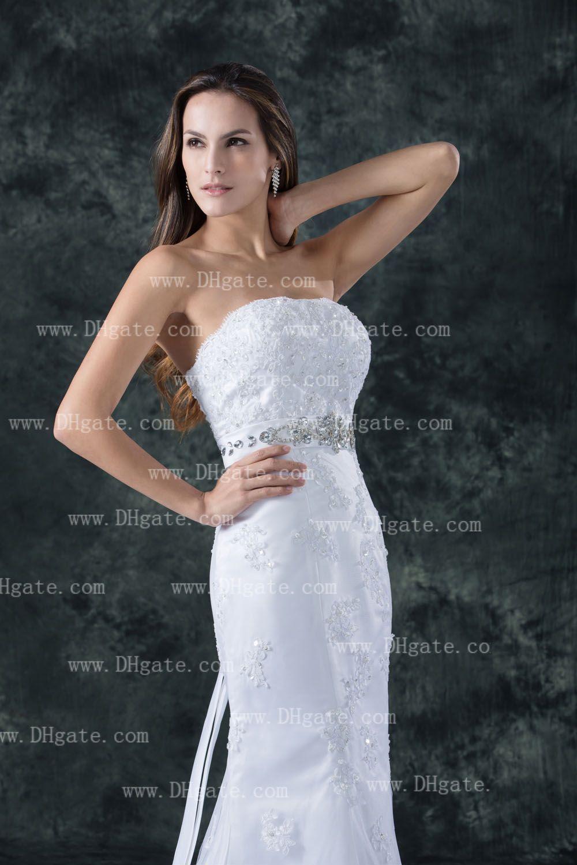 Neue Ankunft 2021 elegante trägerlose Nixe-Spitze-Spitze-Appliques Hochzeits-Kleid WD140