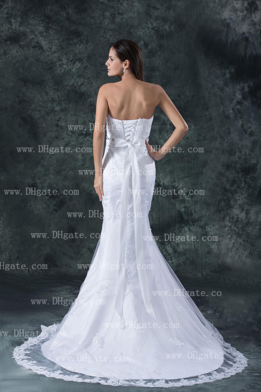 New Arrival 2021 elegante Strapless Mermaid Lace Up Lace apliques vestido de casamento nupcial vestido WD140