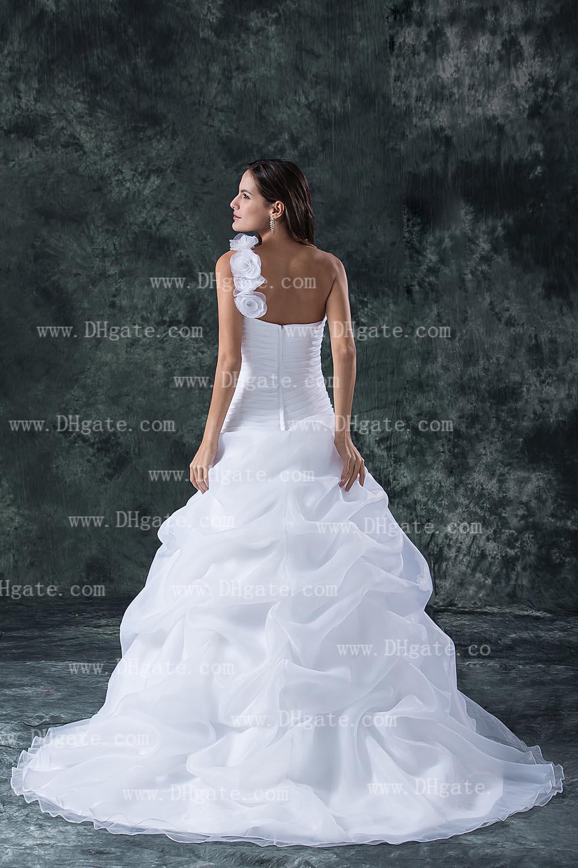 2019 nova chegada de um ombro flor vestido de baile branco organza vestido de noiva vestido de noiva WD136