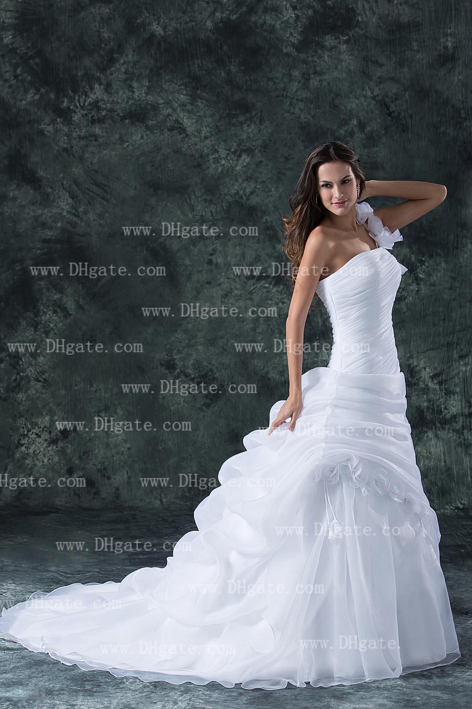 2019 recién llegado de un hombro vestido de bola de la flor vestido de boda blanco de organza vestido de novia WD136