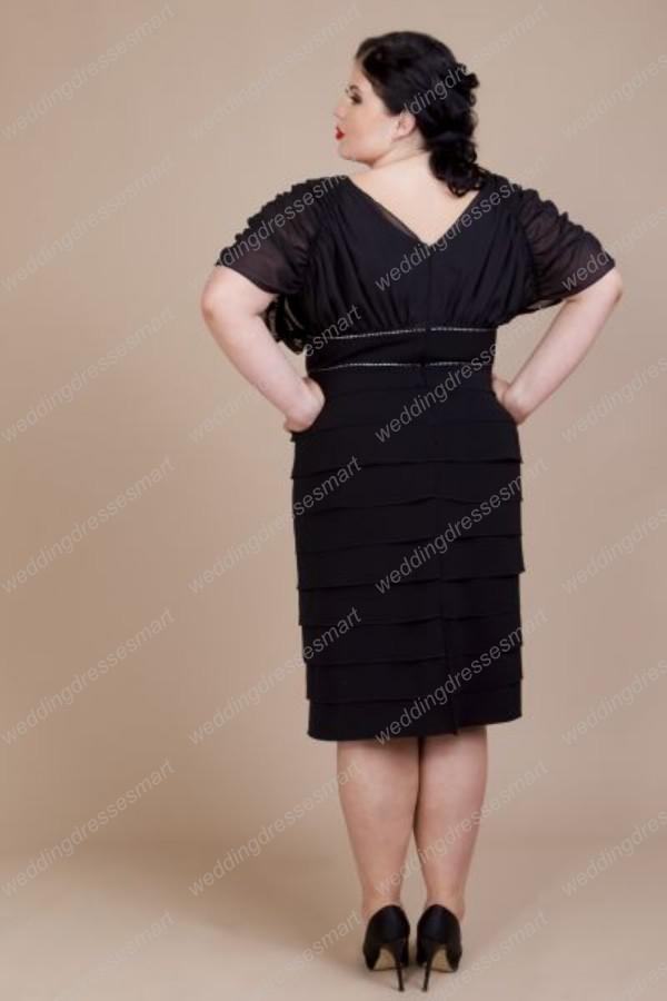 Plus Size Chiffon Short Sleeves Black Knee Length Evening Party Dresses  Sheath Layered Mother Gown Petite Plus Size Pink Plus Size Dresses From ...