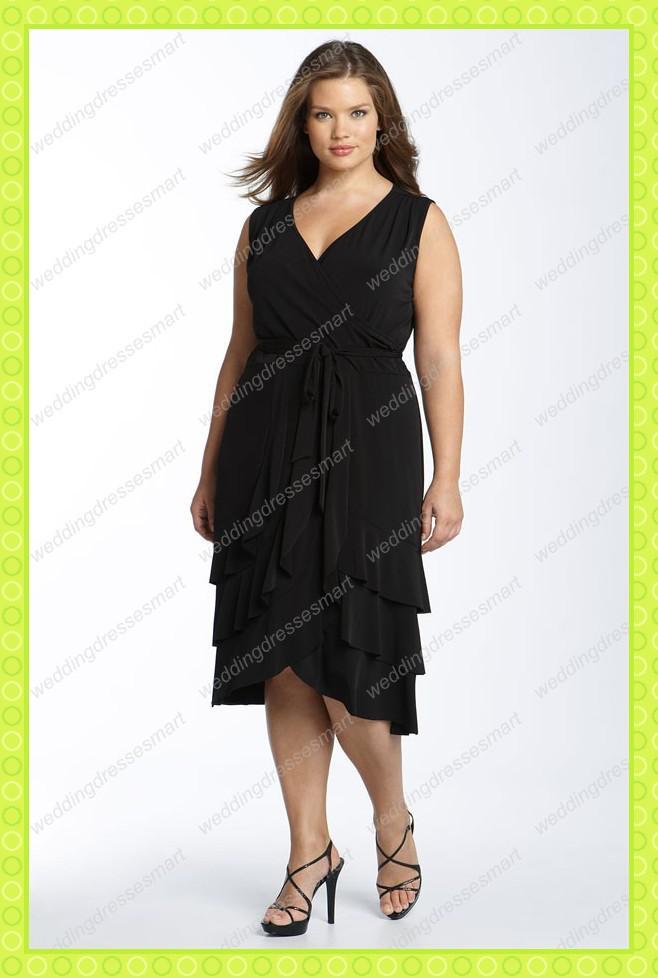 Plus Size Black Matching Chiffon Layered Evening Party Dresses