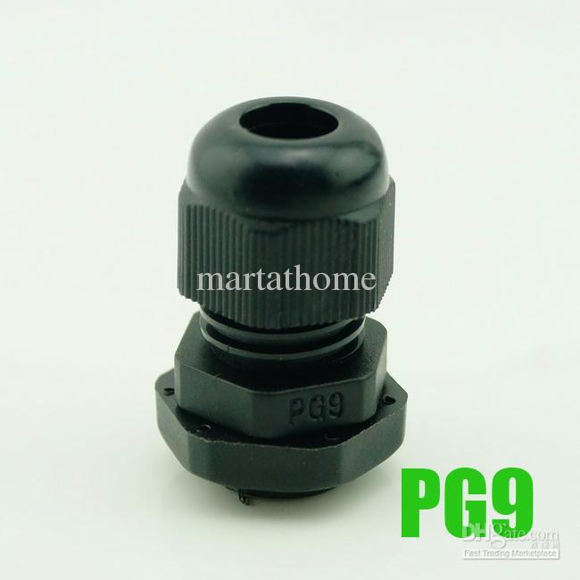 / PG9 PG09 방수 나일론 커넥터 PG 케이블 글 랜드 Dia. 4 ~ 8mm 검정 # BV126 @CF