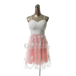 Wholesale Champagne Young Bridesmaids Dress - New Junior Bridesmaid Young Girl Dress Spaghetti Straps Watermelon Ivory Short Chiffon Lace Gown DZ106