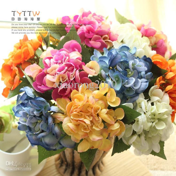 Nouveautés 30cm Long Europ Retro Style Soie Artificielle Hortensia Fleurs Faux Fleur pour La Maison De Mariage Décoration
