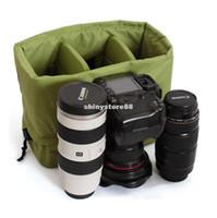 Wholesale Hard Dslr Camera Bag - DSLR Partition Padded Camera Bag Insert With Handle 2 DSLR 3 Lens