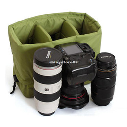 Wholesale Hard Lens Cases - DSLR Partition Padded Camera Bag Insert With Handle 2 DSLR 3 Lens
