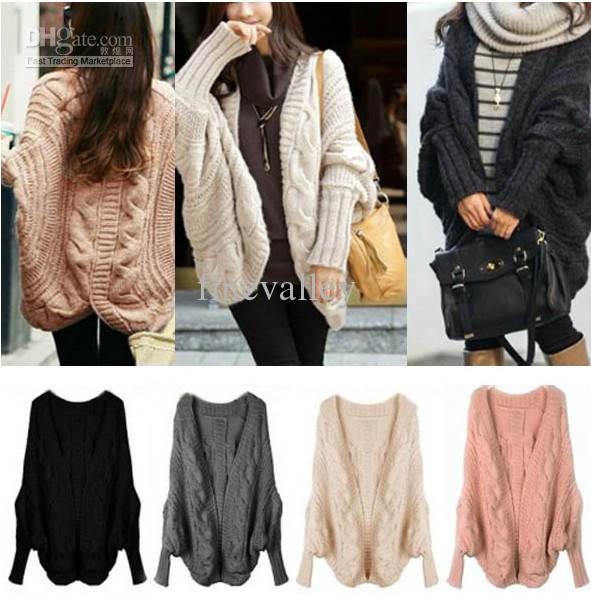 2018 Lady Loose Warm Sweater Wool Knit Cardigan Outwear Batwing ...