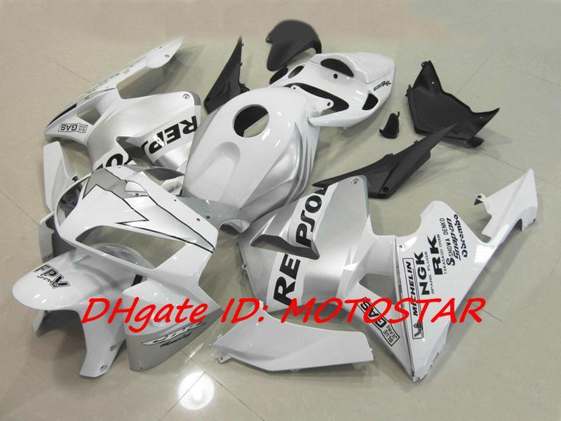 Kit carénage REPSOL Injection blanc argenté pour Honda 2005 2006 CBR600RR F5 CBR 600RR 05 06 CBR600