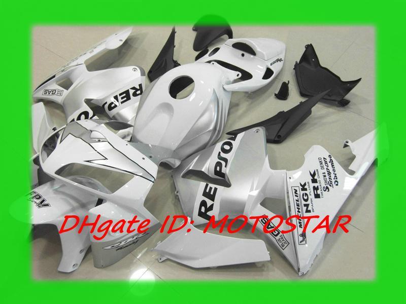 Silver White Repsol Injection Fairing Kit For Honda 2005 2006 Cbr600rr F5 Cbr 600rr 05 06 Cbr600