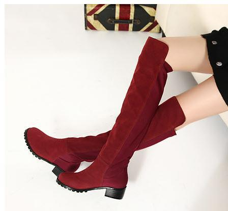 045866d1160e Sexy Material Joining Plush Inside Over Knee Thigh-high Boots Low Heel  Womens Fashion Boots 3 Colors