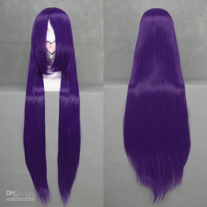 Long Straight Deep Purple Cosplay Wig Cartoon Hair Wigs