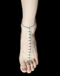 Stretch barefoot anklet jewelry online shopping - Women Jewelry New Arrival Barefoot Sandals Pearl Beads Stretch Chains Beach Anklets with Toe Rings
