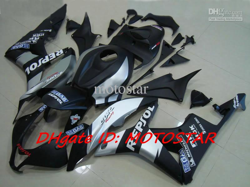 혼다 2007 2008 CBR600RR CBR 600RR F5 07 08 CBR600 페어링 키트 용 평면 흑색 REPSOL 사출 금형