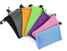 Wholesale Case For Mp5 - FreeShip 100pcs Mixed 9*13cm Soft Mesh Pouch Case Bag for iPod MP3 MP4 MP5 iPhone 4 4s 5 Cell Phone