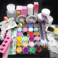 Wholesale French Tip Glitter - Pro Full Acrylic Glitter Powder Glue French Nail Art 500 Tip Brush Kit Set #689