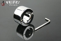 Wholesale Male Steel Chasity - Real Stainless Steel Ball Stretcher Male chasity BDSM device Chastity Ring 033