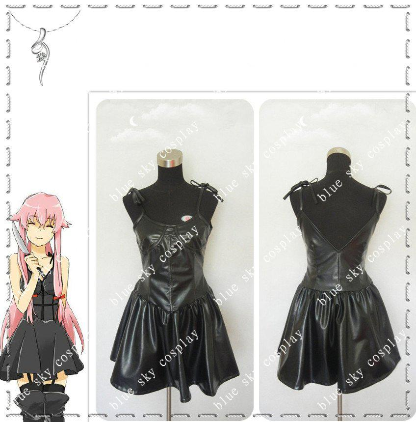 2018 The Future Diary Gasai Yuno Black Dress Anime Cosplay Costume