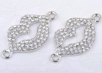 Wholesale DIY Silver Plated White Crystal RHINESTONE Lip PAVE Disco BRACELET CONNECTOR CHARM BEADS PICK TYPES