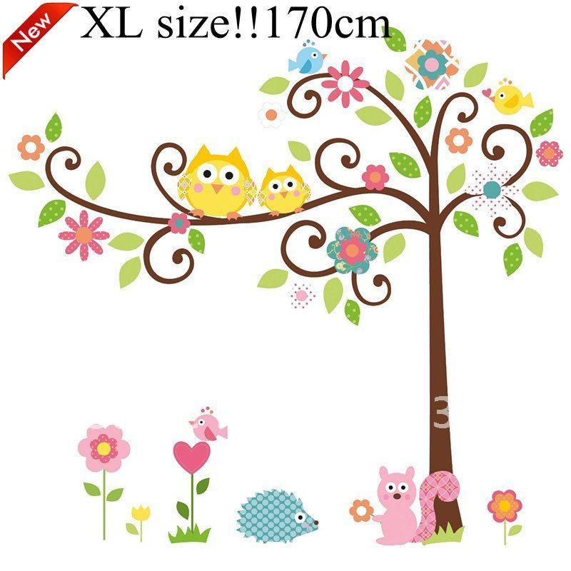 Room Decoration Cute Owl Tree Peel \u0026Amp; Stick Wall Decal Kindergarten  40\u0027\u0027*42in/100*105cm Wall Sticker Wall Art Stickers Trees Wall Art Stickers  Uk From