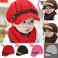 Wholesale Knitted Hat Buckle - children's hats , baby hand-knitted hat boys girls color bar buckle cap (4 colors), 10pcs lot, dandys