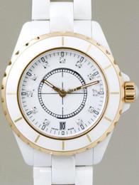 Discount white ceramic rose gold watches women - Luxury Rose gold White Ceramic Quartz Women' Date Ladies Fashion Style Wrist Watches