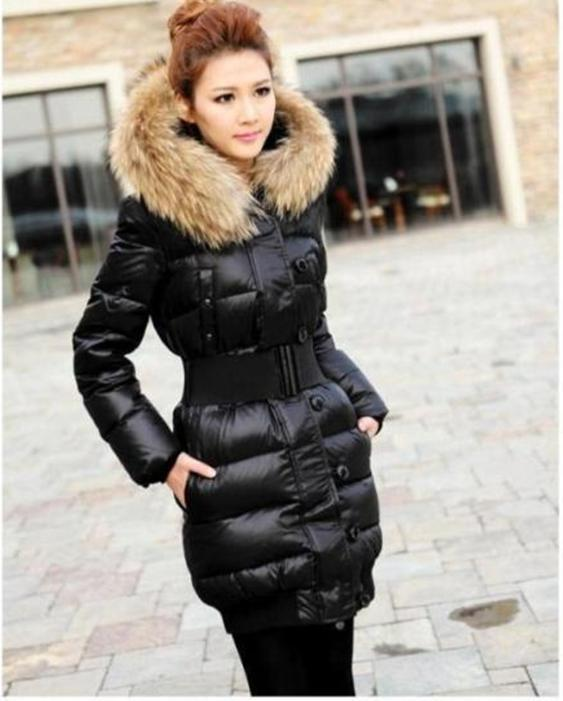 2017 Women's Quilted Down Fur Collar Hooded Jacket Expedition ...