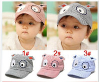 Wholesale Sub Hat - children cute leisure cap baby hats sub cartoon dog shape baseball cap(3 colors),10pcs lot,dandys