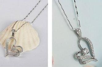 Gratis Shipping Heart Halsband CZ Crystal med två lager Bohemian 15st / julklapp