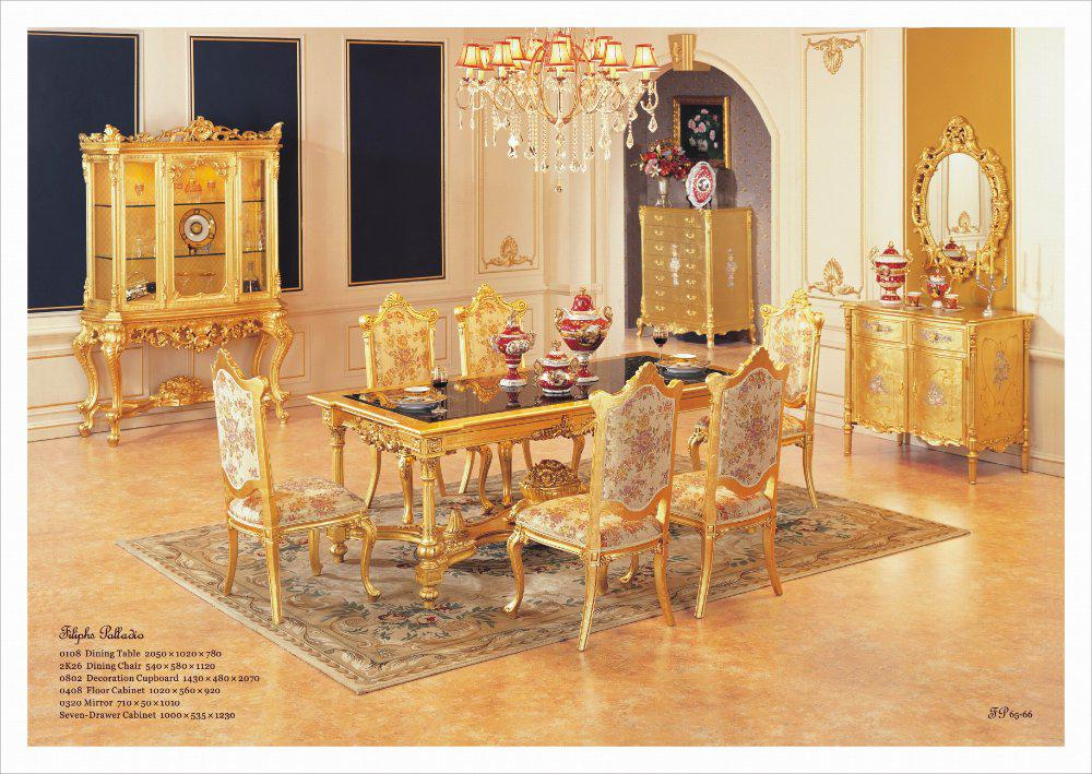2017 hot selling hand carved furniture,baroque gold foil dining