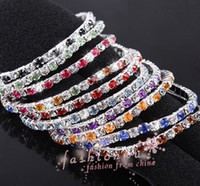 Wholesale Bracelet Single Row Crystals - New arrive 30Pcs Mix colors Full rhinestone elastic single row bracelet Wedding Bridal Phrom Crystal Bracelets free shipping