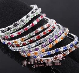 Wholesale Crystal Single Row Bracelet - New arrive 30Pcs Mix colors Full rhinestone elastic single row bracelet Wedding Bridal Phrom Crystal Bracelets free shipping