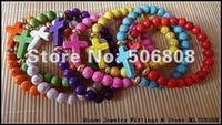 Wholesale Howlite Cross Bracelets - Mixed Color Howlite Turquoise Stone Sideways Cross Honesty Bracelets Handmade Stretch Bracelet 15PCS