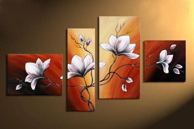 Hand Painted Wall Art best quality hand painted wall art autumn brown red flower bloom
