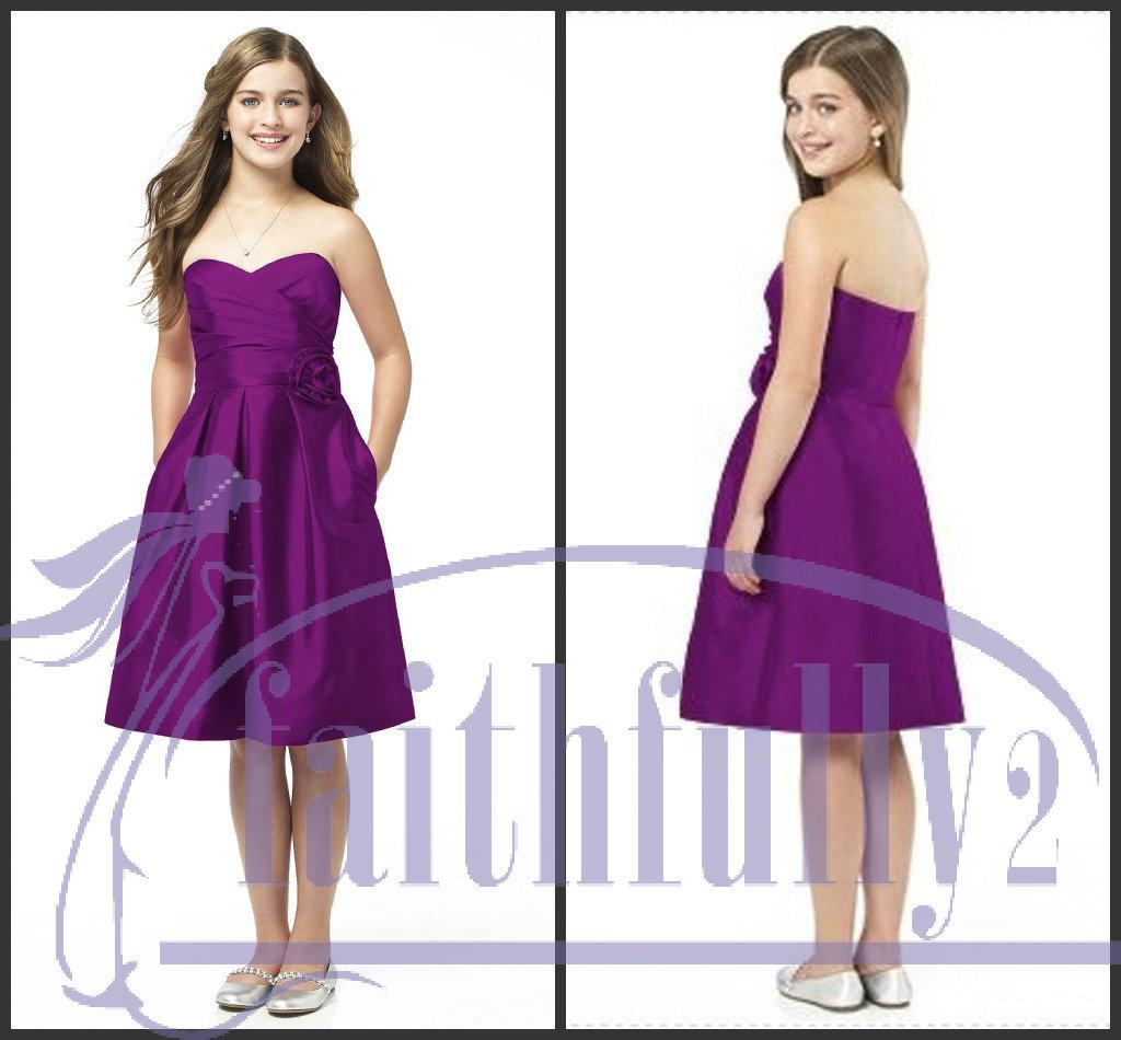 Fascinating junior bridesmaid dresses plum a line sweetheart with fascinating junior bridesmaid dresses plum a line sweetheart with belt flower pleated pockets jr504 bridemaid dresses bridesmaid gown from faithfully2 ombrellifo Images