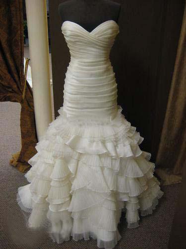 Cheap Strapless Ruffled Organza Mermaid Wedding Dress Pleated Zipper ...