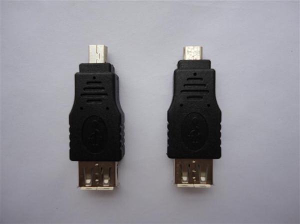200 stücke Nette Drahtlose Stecker männlich micro 5pin / Mini 5 pin Stecker auf weibliche USB Adapter OTG host daten