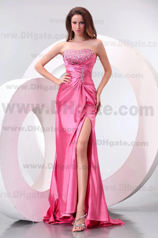 Novo Estilo de Moda Cor de Rosa Beading Applique Beading Estiramento Cetim Partido Prom Dress PD0144