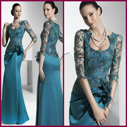 Wholesale Aqua Blue Water - Graceful Aqua Scoop Half Lace Sleevs Sheath Satin Long Fashion Mother Of The Bride Dress Formal Gown