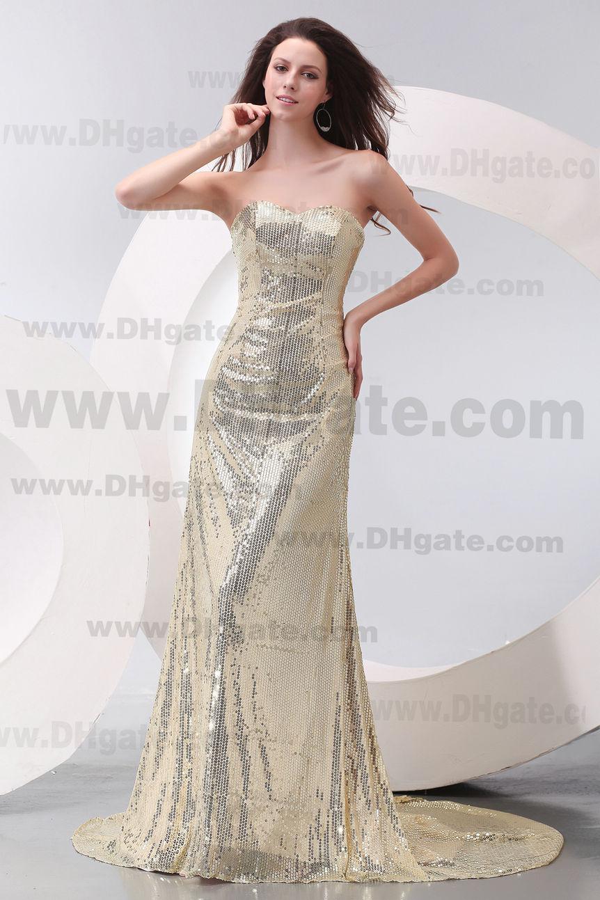 Cremallera espalda piso longitud sin tirantes Bling Bling brillante vestido de noche de baile PD149