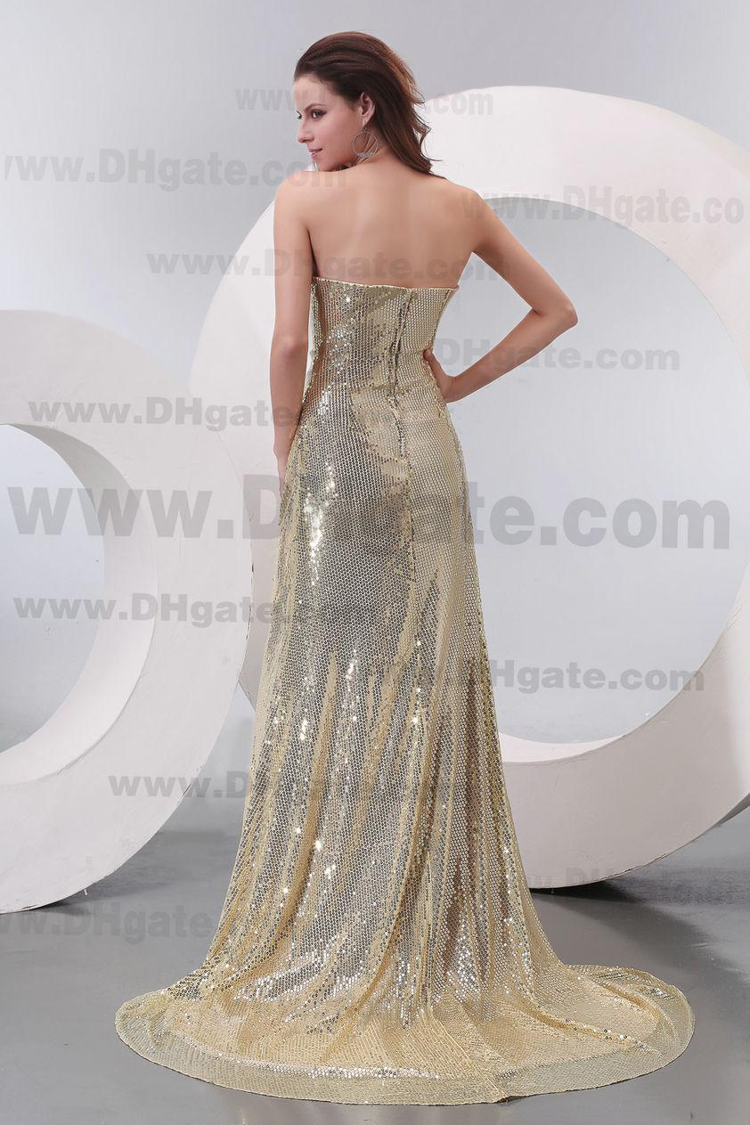 Dragkedja bakgolv längd strapless bling bling sparkly prom afton dress pd149