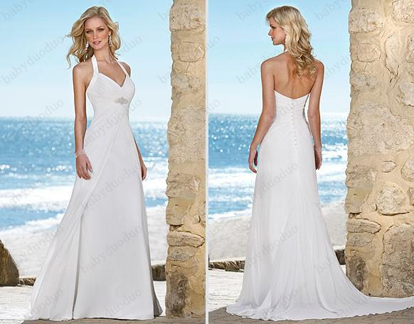 Discount Elegant Ella V Neck Halter Wedding Dresses Bridal