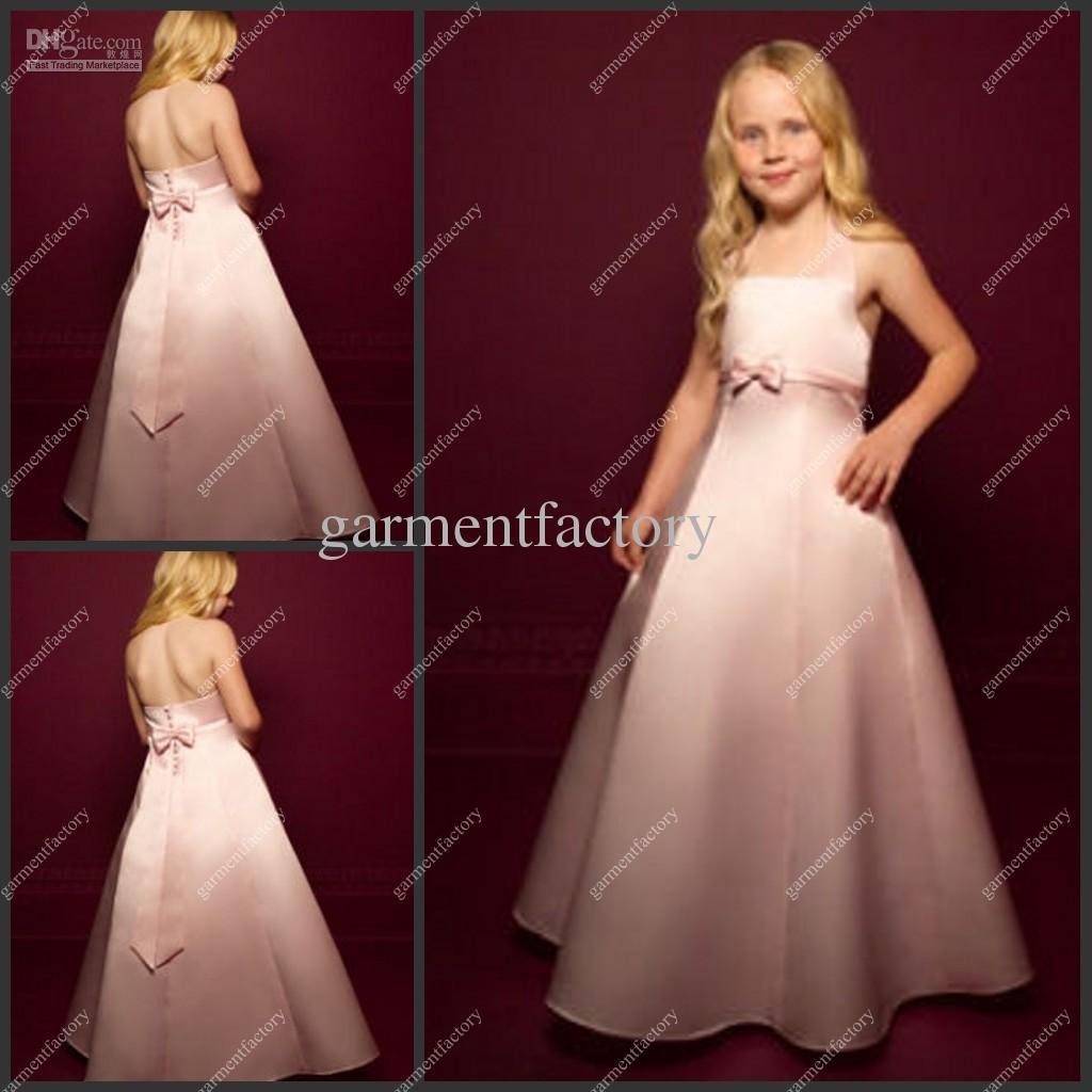 Cheapest Kids Evening Gowns Halter Neckline A Line Full Length Pink ...