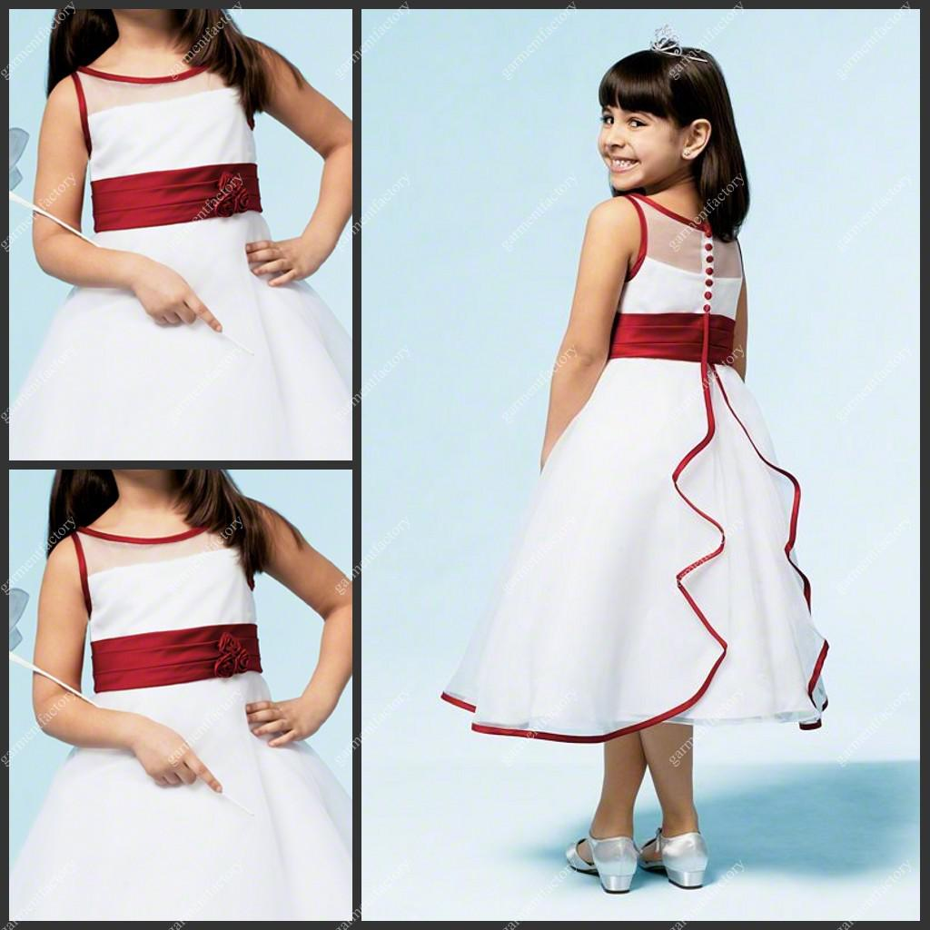 Hot Sale Girls Pageant Dress Tea Length Sash Red And White Organza