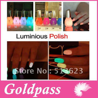 Wholesale Glow Glitter Nail Polish - FREESHIPPING -Fashion NEW Luminous Nail Art Polish Varnish Glow in the Dark Nail Polish Lacquer 12 c