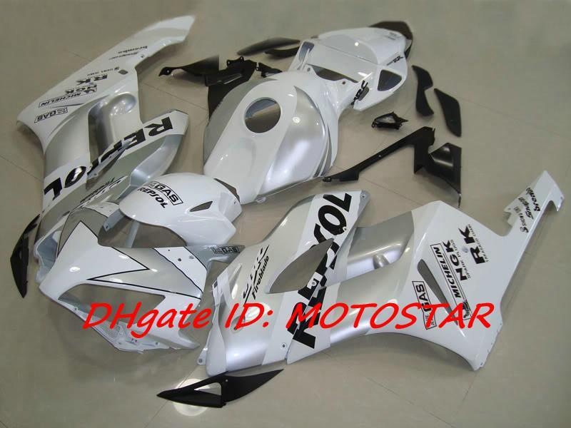 branco / prata REPSOL injeção moldado kit de carenagem para CBR1000RR 2004 2005 CBR 1000RR CBR 1000 04 05 corridas de corridas de estrada