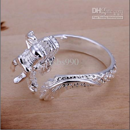 Little White Dragon Ring Fashion Unisex High Quality 925 Silver Smycken Gratis frakt 10st / Lot