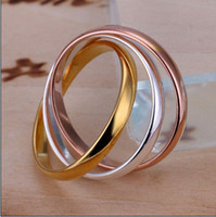 Wholesale Dichroic Rings - High quality 925 silver gold-plated dichroic three times rings fashion unisex jewelry free shipping