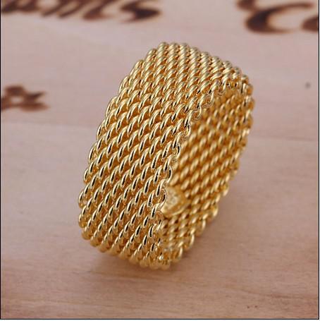 Fabrikpreis hochwertig überzogene 18K Goldringe arbeiten unisexschmucksachen freies Verschiffen 10pcs / lot um