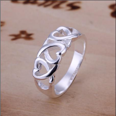 Fabriek prijs hoge kwaliteit 925 zilveren ring 6-10 # mode-sieraden gratis verzending 10pcs / lot
